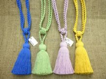 2 Curtain tassel tie backs - Cotton tasselled tieback ropes with single tassel